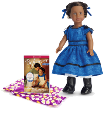 Addy, African American doll with book and sleeping bag