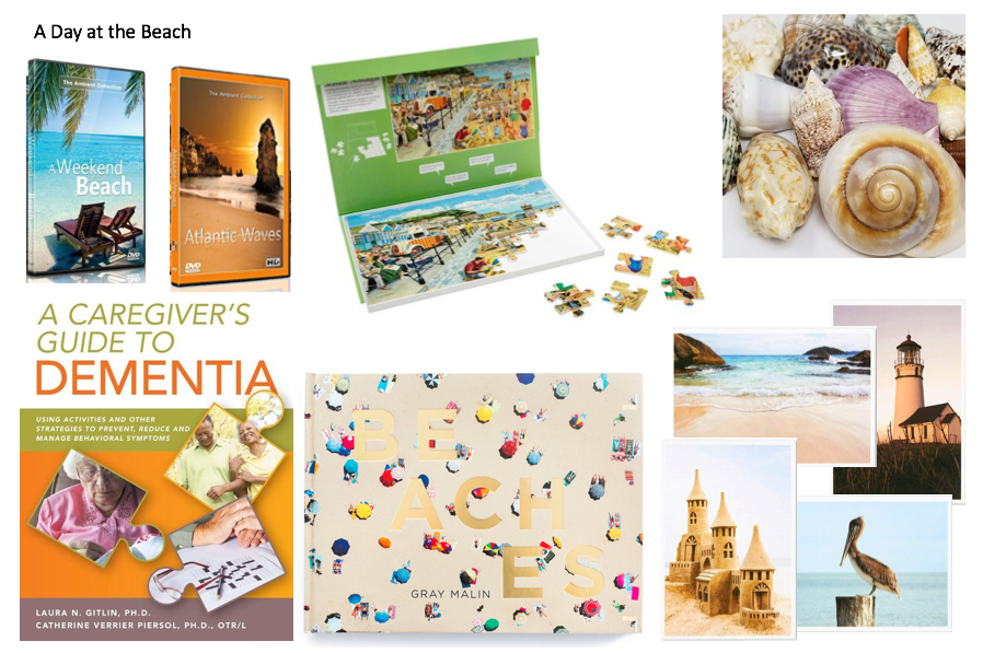 beach-themed book, puzzle, dvds, seashells, postcards, and dementia care book