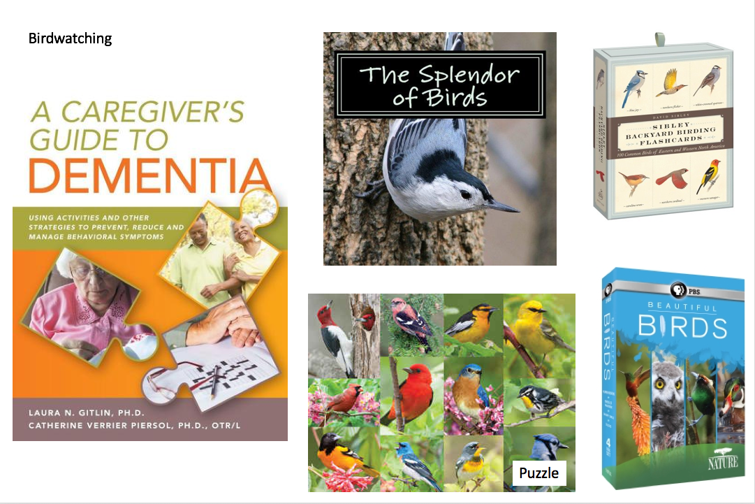 Books, games, puzzles, and DVDs related to birdwatching and dementia care