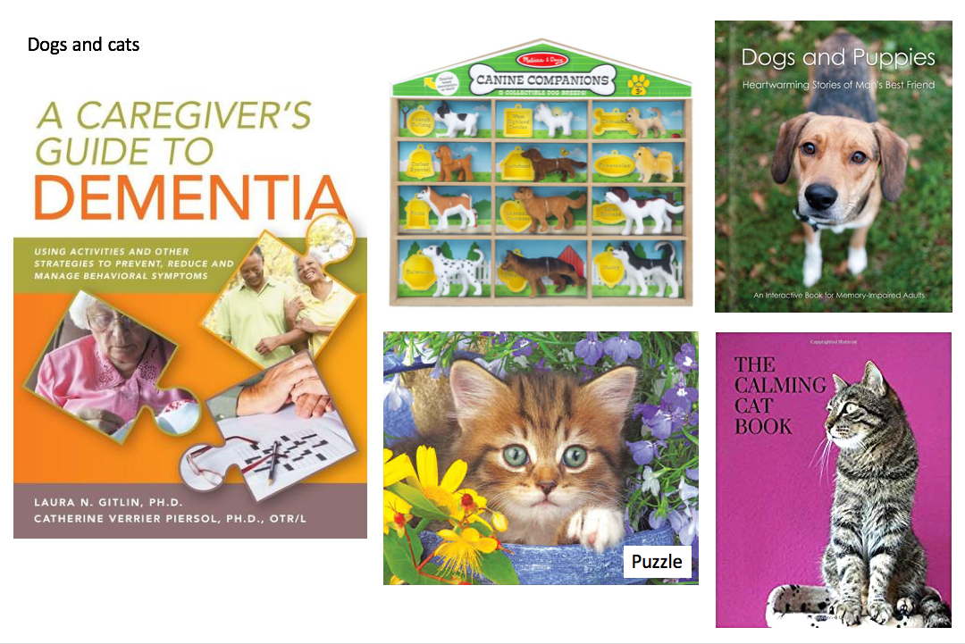 Books, games, puzzles, related to dogs and cats for dementia care