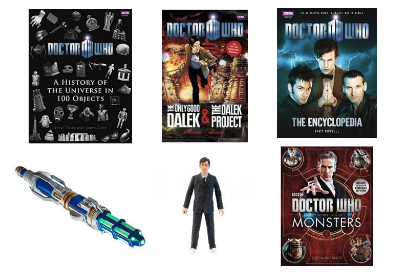 doctor who books, figurine, sonic screwdriver toy