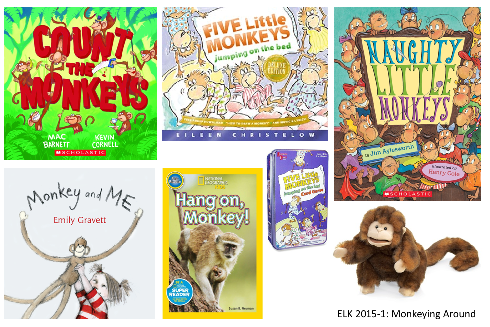 Monkey puppet and monkey themed books and games