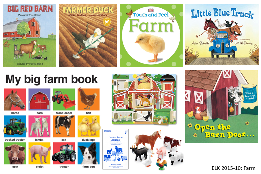 6 farm books, 1 puzzle, farm animal toys