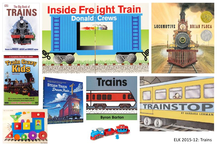 6 train books, 1 DVD, 1 puzzle, 1 toy train