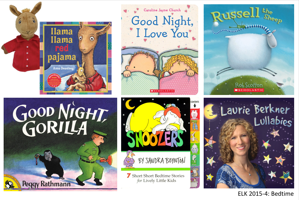 5 bedtime books, 1 music CD, Llama Llama puppet