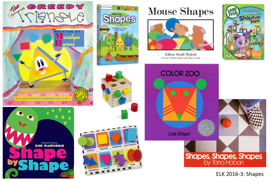 5 shapes books, 2 DVDs, 1 puzzle, 1 sorting cube