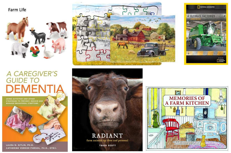 farm books, puzzle, dvd, animal figurines, dementia care book