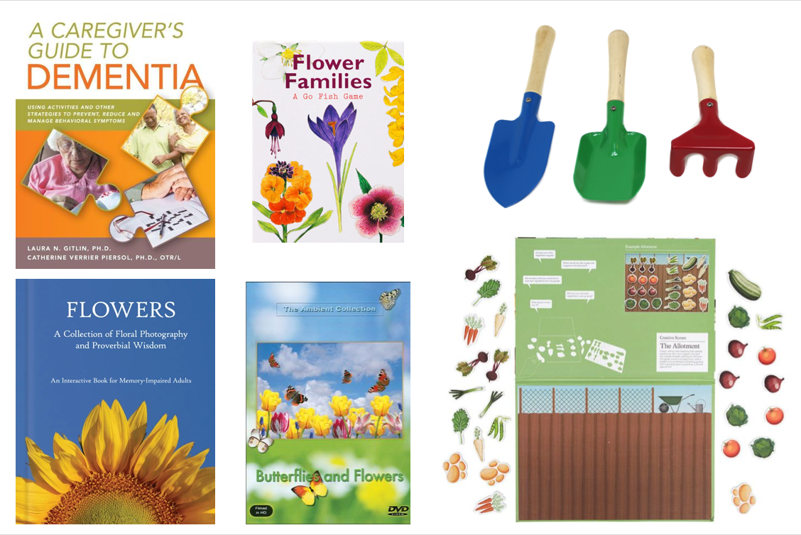 Dementia care book, gardening books, games and tools