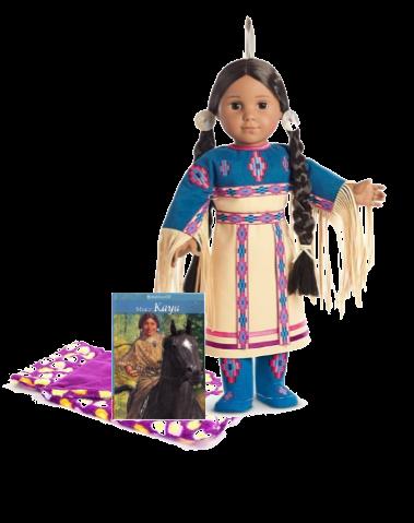 Kaya Native American doll with book and sleeping bag