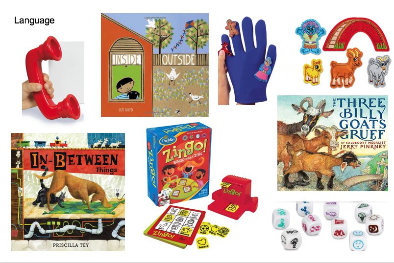 kit contents: puppets, books, games