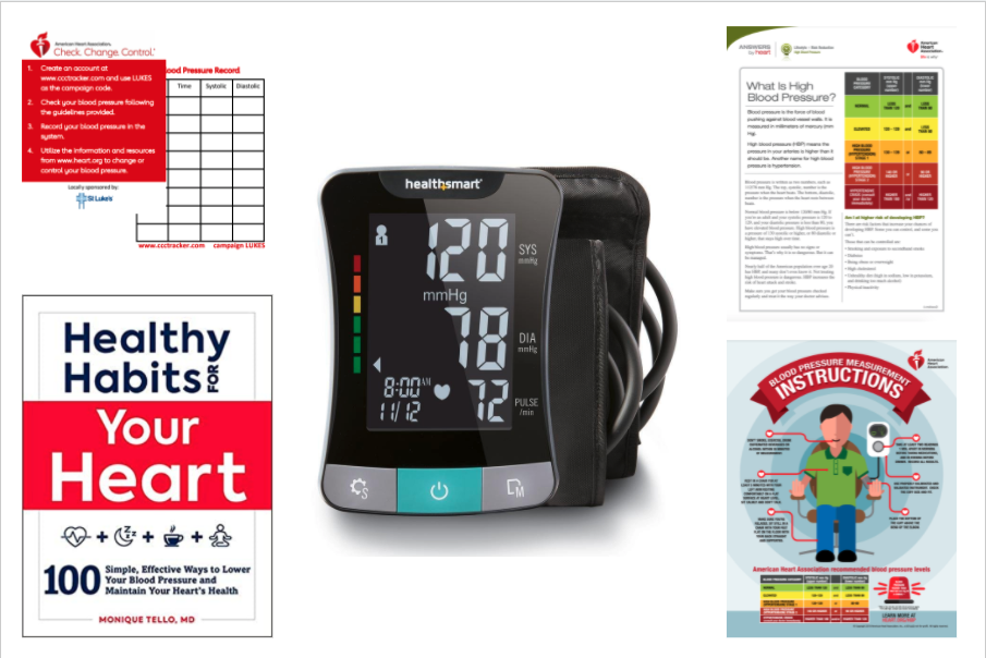 Blood pressure monitor, book, and guides