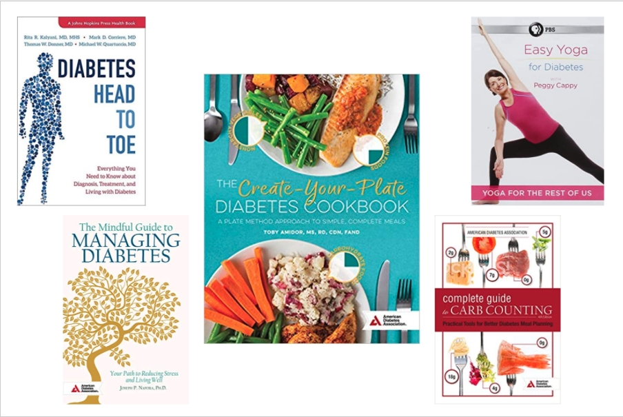 4 books on diabetes and 1 yoga DVD