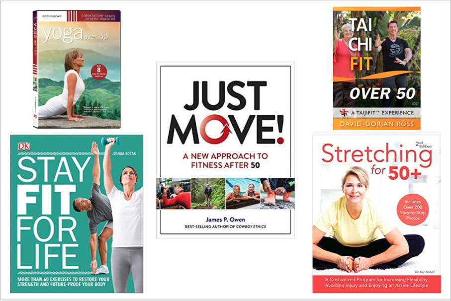 3 fitness books and 2 exercise DVDs