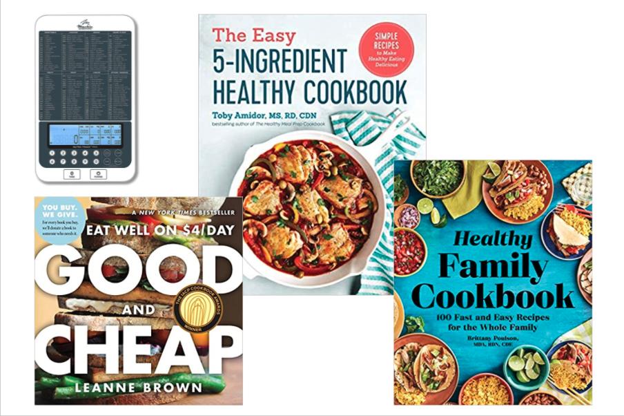digital kitchen scale and three cookbooks