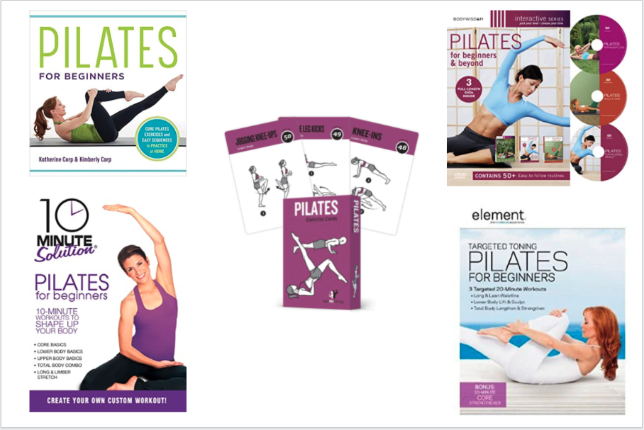3 DVDs, 1 Book, and a set of exercise cards about Pilates