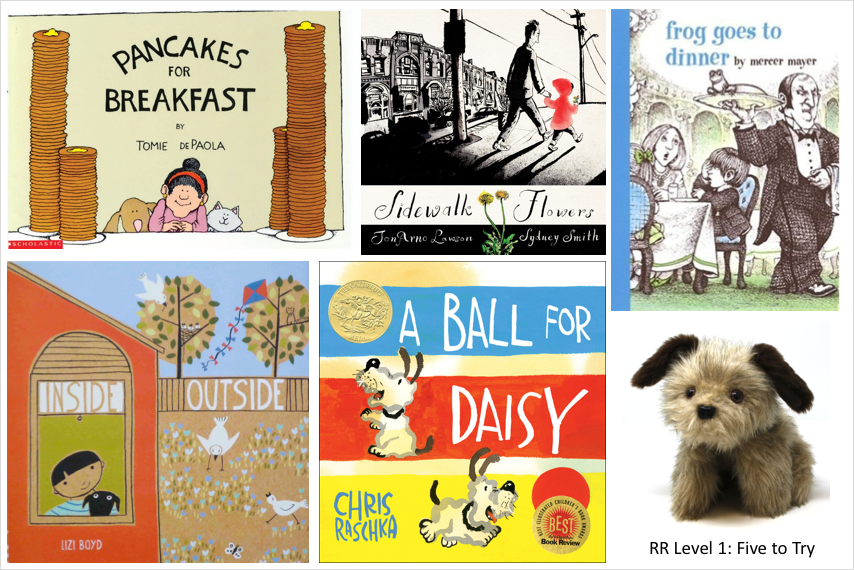 5 book covers and dog puppet