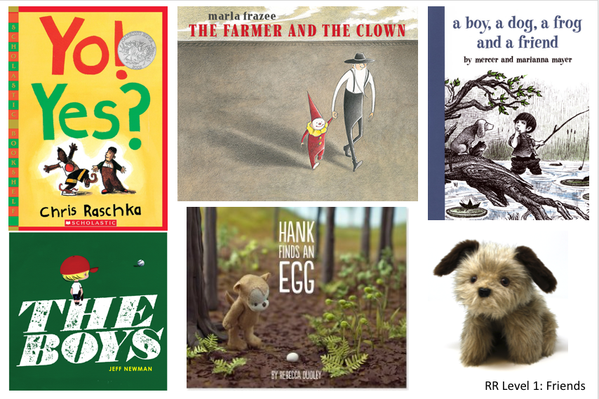 5 books and dog puppet