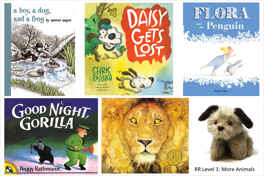 5 animal book covers and a dog puppet