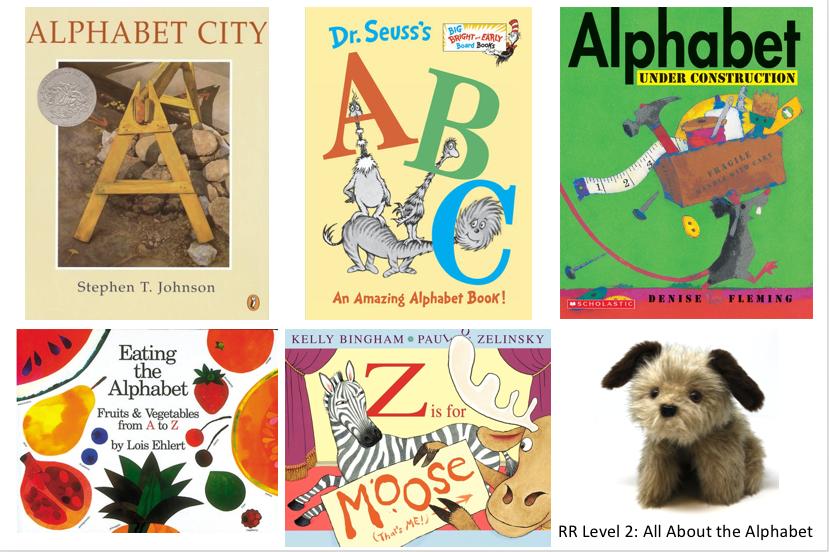 5 alphabet books and a Rascal dog puppet
