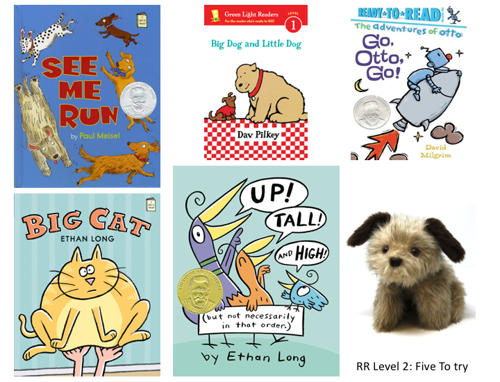 5 book covers and a Rascal dog puppet