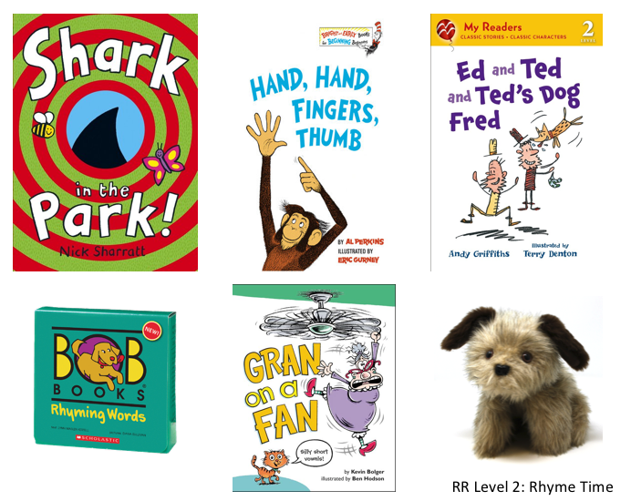 5 rhyming books and a Rascal dog puppet