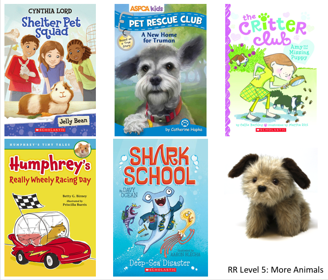 5 animal books and a Rascal dog puppet