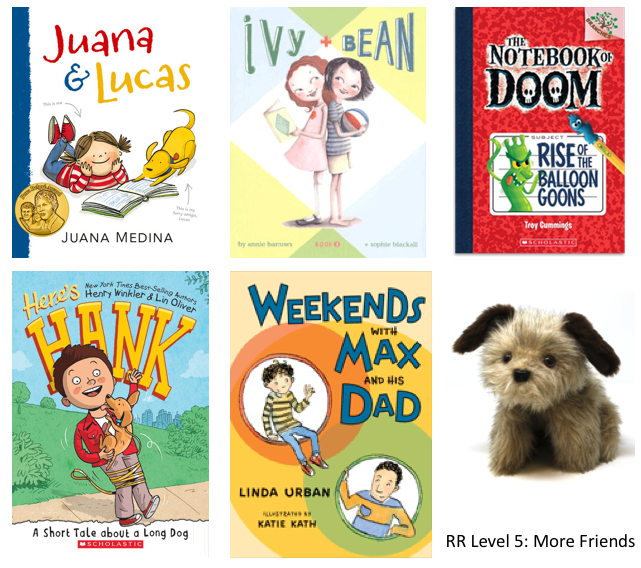 5 friends books and a Rascal dog puppet