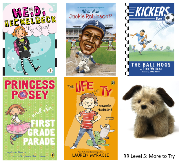 5 books and a Rascal dog puppet