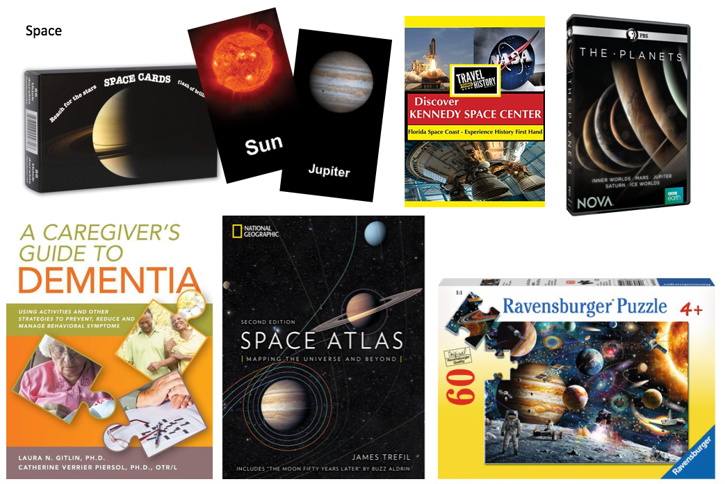 Dementia care book, space-related flashcards, dvds, puzzle, and book