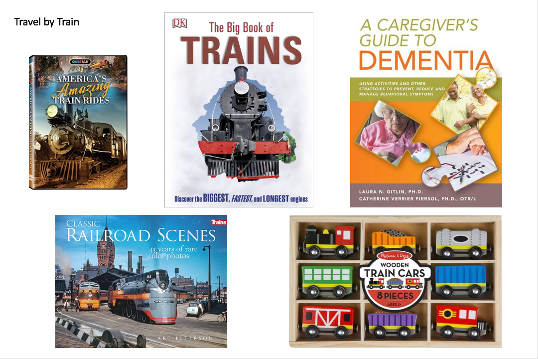 Books and activities on train travel and dementia care