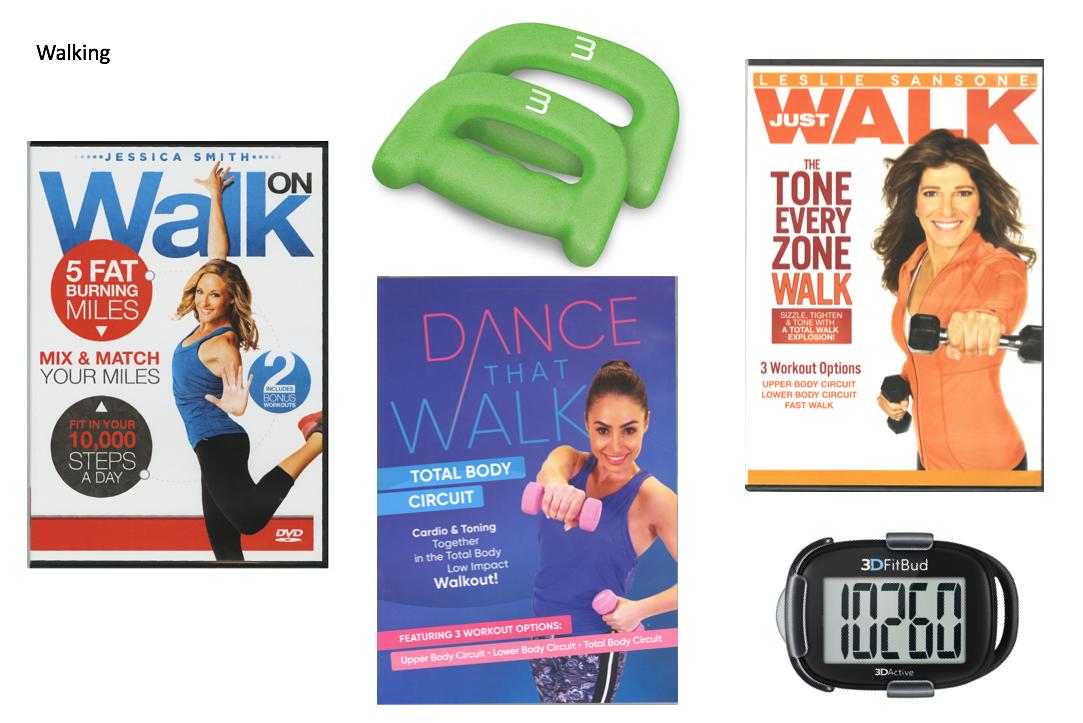 Set of walking hand weights, 3 walking fitness DVDs, 1 pedometer
