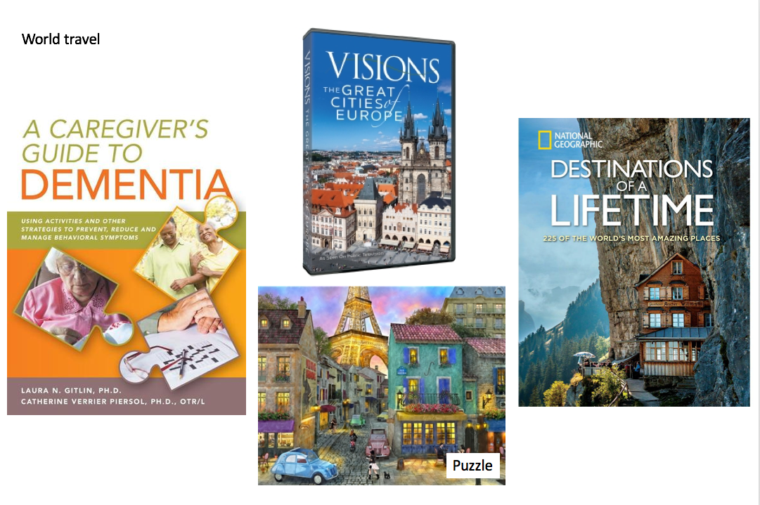 Books, puzzle, and DVD related to world travel for dementia care