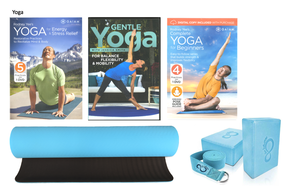 3 yoga fitness DVDs, yoga mat, pair of yoga blocks, strap