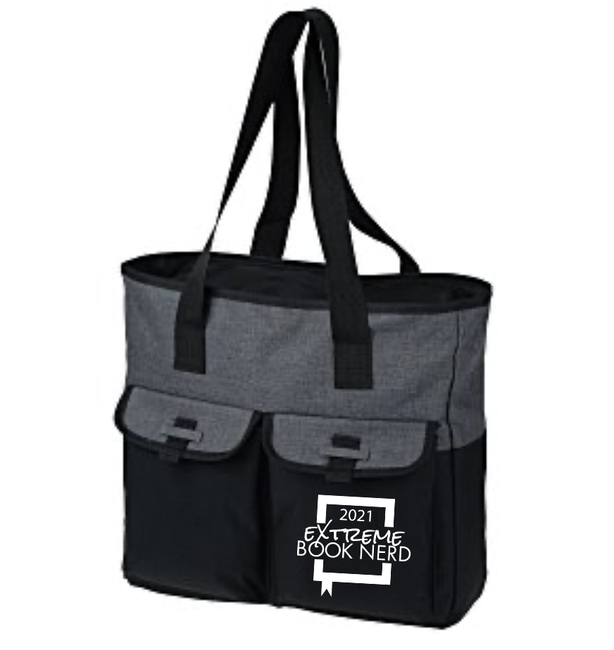 black and grey canvas bag with the Extreme Book Nerd logo on one of two outer pockets.