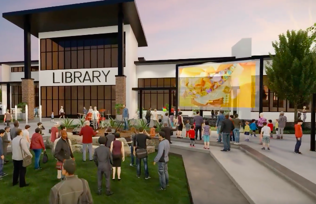 Architect's rendering of Linder Village library branch as a contemporary modern building with people gathered watching a movie on grass and stone seating out front.