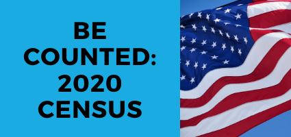 text: make sure you are counted in the 2020 Census. Background: American flag.